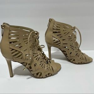 Guess Lace up Laser Cut Faux Leather Luanna Heels